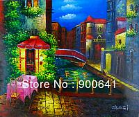 Hand-painted-Modern-Oil-Painting-Canvas-Signed-Venice-City-Building-HD108
