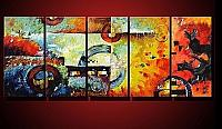 New-Art-MODERN-ABSTRACT-HUGE-OIL-PAINTING-ON-CANVAS-5PC