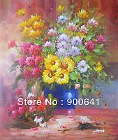 Hand-painted-Modern-Oil-Painting-Canvas-Signed-Impressional-Flowers-Rose-Daisy-FY053