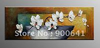 Hand-painted-Modern-Oil-Painting-Flower-Canvas-Yellow-White-Deco-Art-High-Quality-CQ129