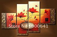 Modern-oil-painting-Framed-Hand-painted-Group-Flower-Golden-Red-wall-art-home-decoration-G4079